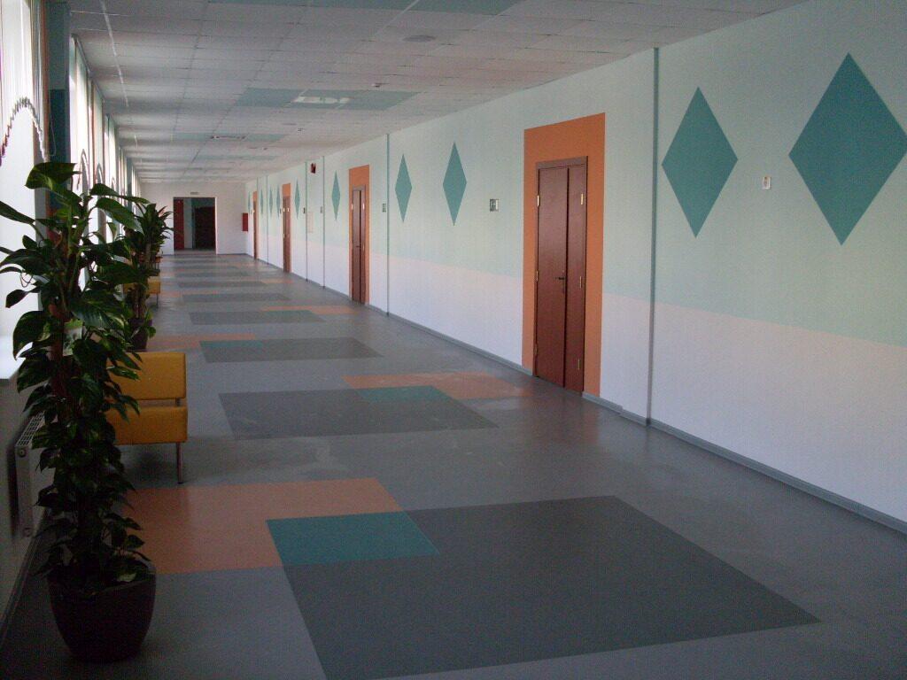 Стены в коридорах школы на карамзина.